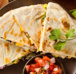 Cowboy Buffalo Chicken Quesadillas with Lime-Corn Salsa