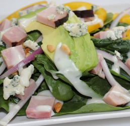 Spinach Salad with Pine Nuts, Avocado and Ham