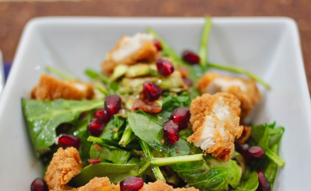 Warm Brussels Sprouts Salad with Crispy Chicken Tenders