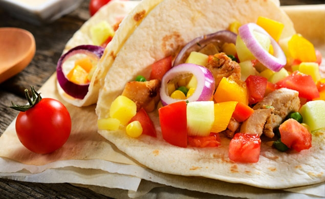 Sweet and Sour Chicken Pineapple Tortilla Wraps