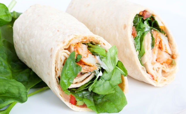 Warm Chicken Caesar Wraps