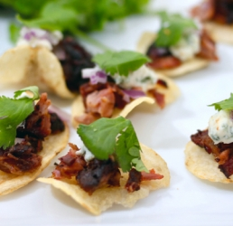 Pulled Rib & Bleu Cheese Crisps