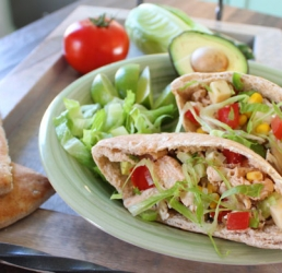 Barbecued Chicken Salad Pita Pockets