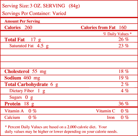 Nutrition facts for Roasted Garlic Seasoned Wings