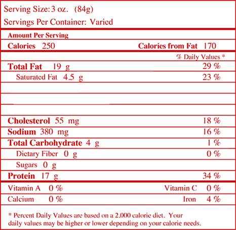 Nutrition facts for Buffalo Ranch Seasoned Wings