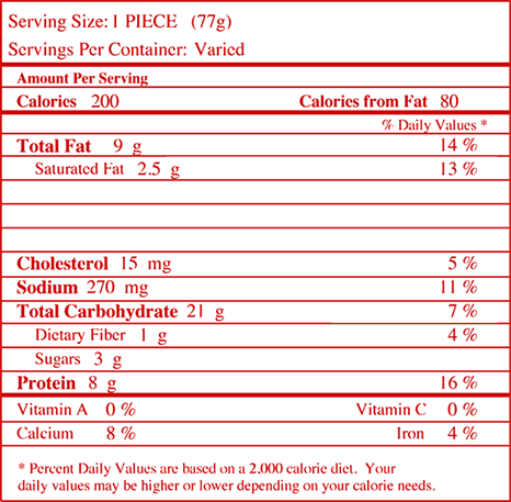Nutrition facts for Chicken & Cheese Crispitos® Filled Tortillas