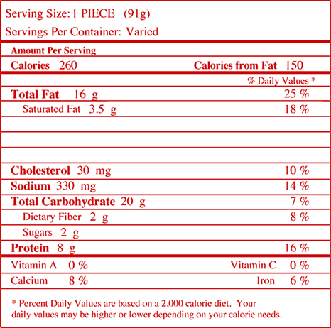 Nutrition facts for Chicken Chili Crispitos® Filled Tortillas