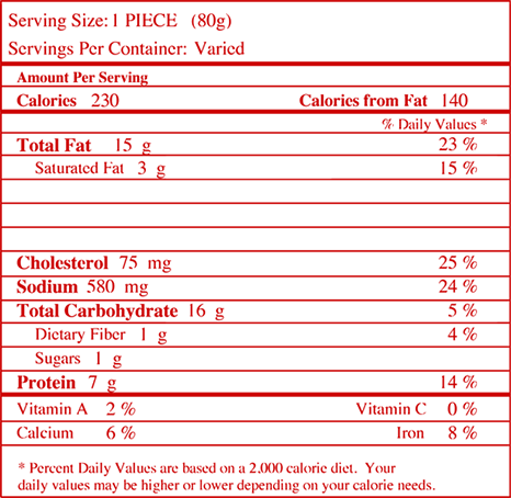 Nutrition facts for Egg, Cheese, and Sausage Crispitos® Filled Tortillas