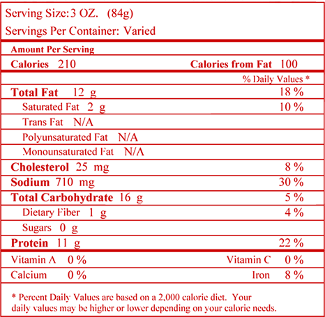 Nutrition facts for Honey Comb Chicken™ Boneless Wings