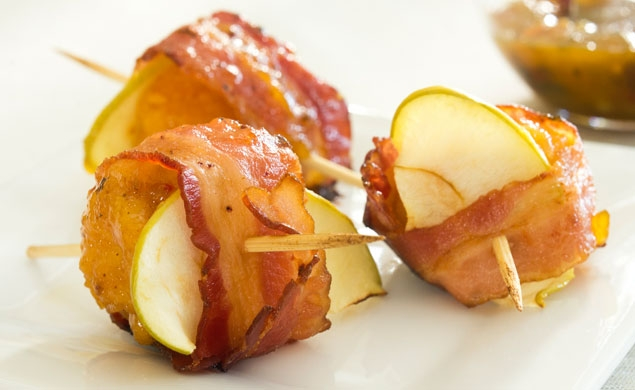 Bacon Wrapped Boneless Wings with Apple
