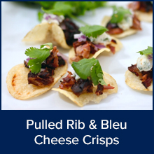 Pulled Rib and Bleu Cheese Crisps